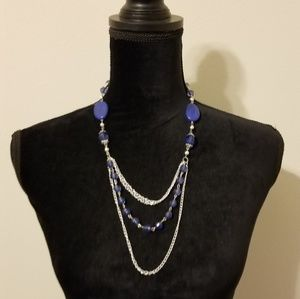 Blue and Silver Layered Necklace